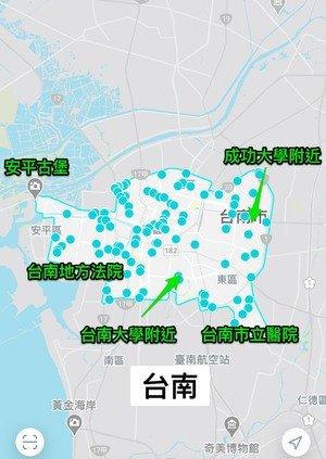 台南GoSHARE營運租借範圍